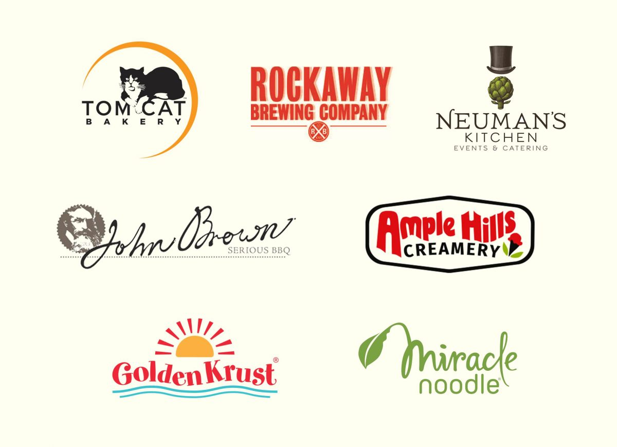 Tom Cat Bakery Logo, Rockawa Brewing Company Logo, Neuman's Kitchen Events and Catering Logo, John Brown Serous BBQ Logo, Ample Hills Creamery Logo, Golden Crust Logo, Miracle Noodle Logo