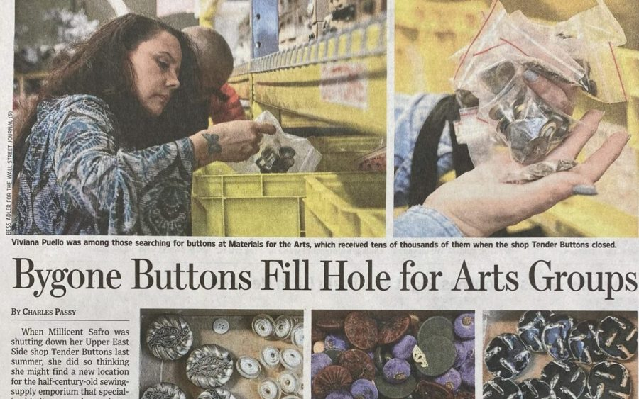 "Image of the newspaper clipping of the ""Bygone Buttons Fill Hole for Arts Groups"" story in the Wall Street Journal. In the clipping there is a photo of a man and a woman looking through the bins at Materials for the Arts for buttons. THere are also upclose pictures of vintage buttons in the Materials for the Arts warehouse."